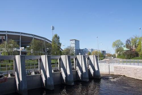 Dämmet och laxtrappan har byggts om under 2013.