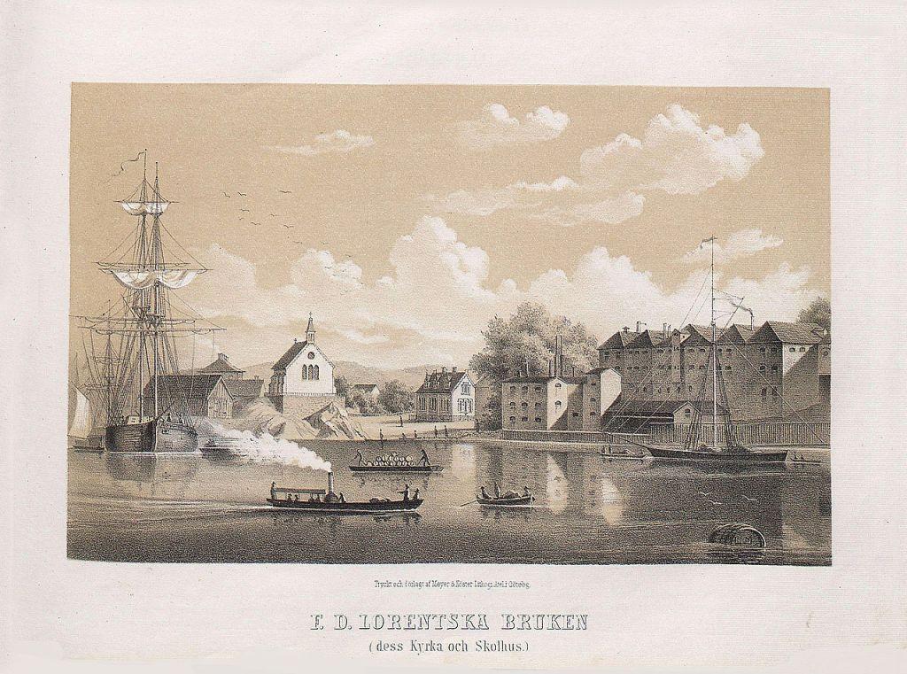 Carnegiska bruket omkring år 1860.