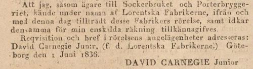Ur: Aftonbladet den 20 juni 1836.