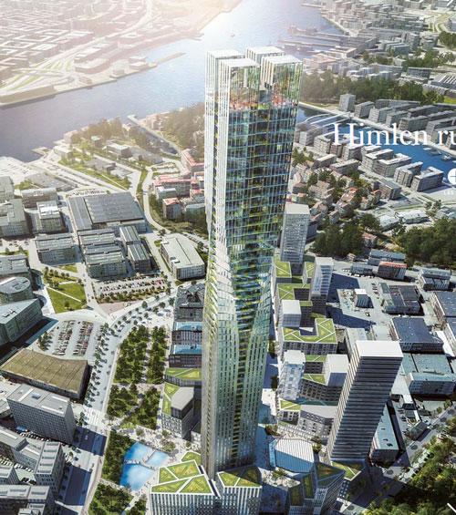 Skyskrapan är bara en del av planen för Lindholmsområdet, det blir många lägre hus i omgivningen.