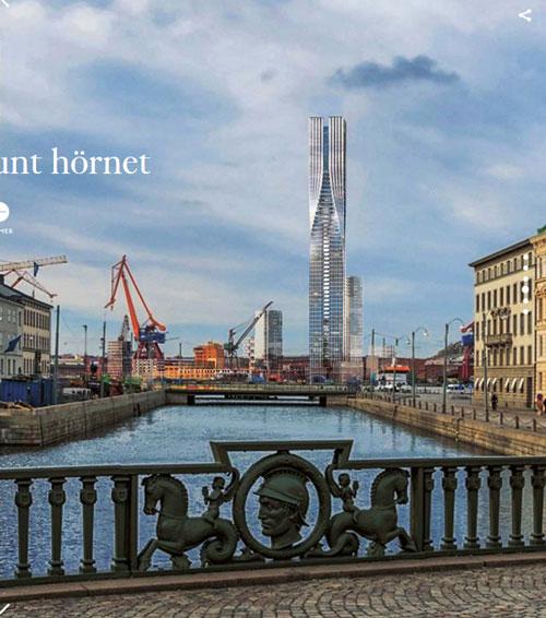Vyn från Kämpebron med det nya tornet inlagt.